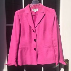 Pink suit jacket with matching black pants